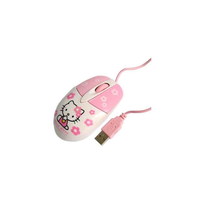 RATON USB DISEÑO GATITA BLANCO Y ROSA M5639