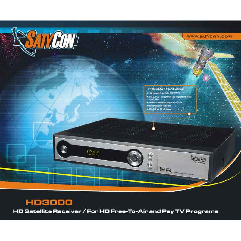 RECEPTOR SATELITE SATYCON HD3000 + ANTENA 60CM