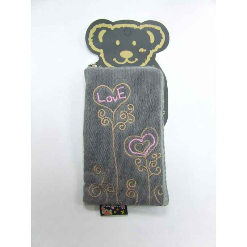 FUNDA GRIS DISEÑO LOVE PARA MOVIL / MP3