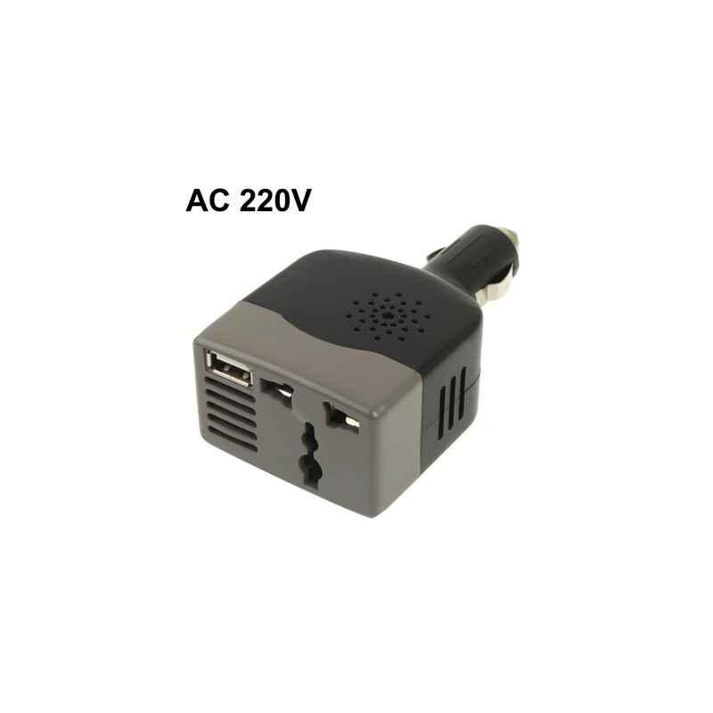 INVERSOR COCHE 12V A 220V 100W + PUERTO USB