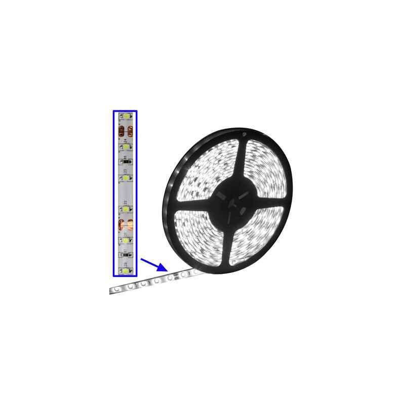 TIRA FLEXIBLE ADHESIVAS LEDS BLANCOS ROLLO 5M INT.