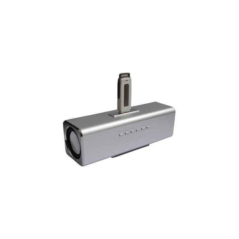 ALTAVOCES STEREO MP3 CUBE2 PLATA + CARGADOR 400MA
