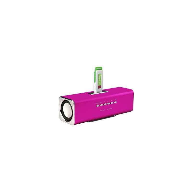 ALTAVOCES STEREO MP3 CUBE2 ROSA + CARGADOR 400MA